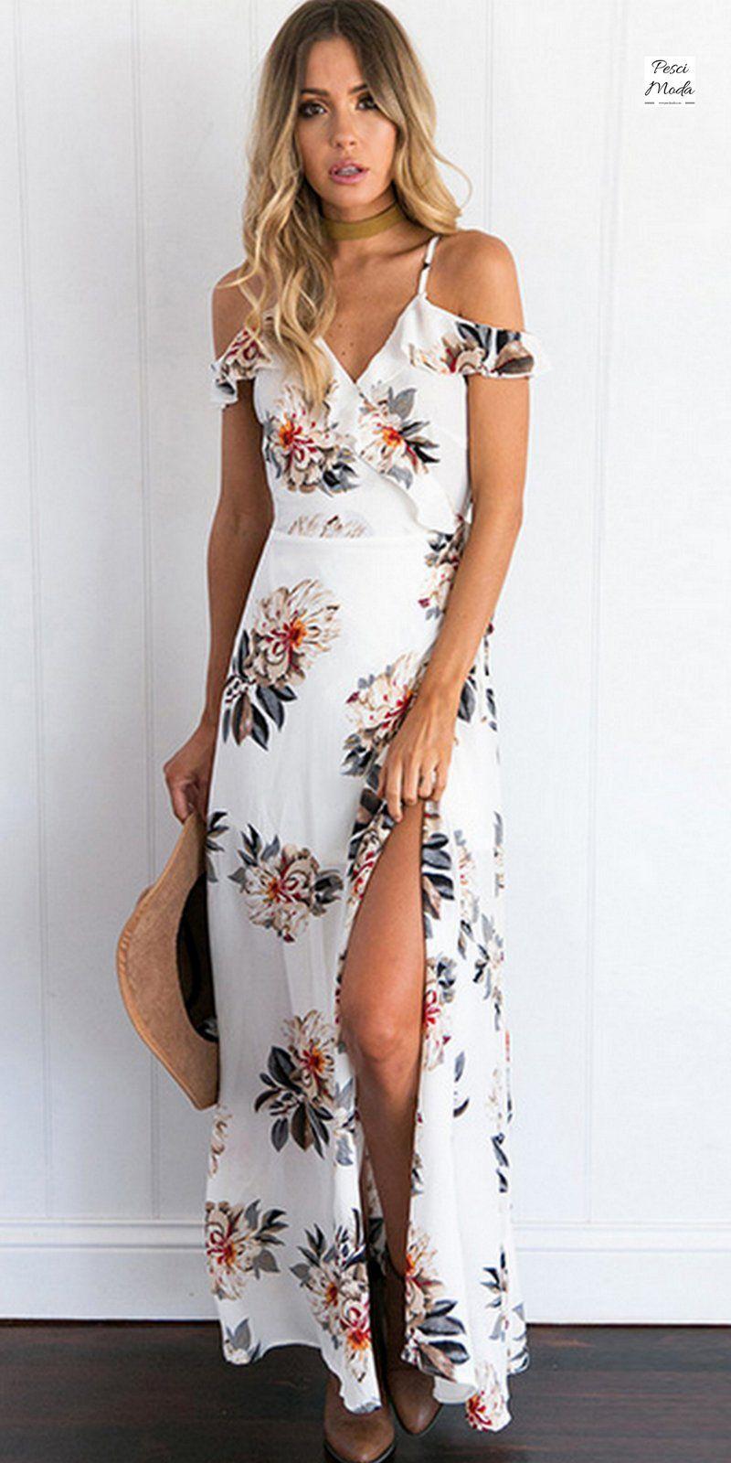 ecc649db7fc54 Elegant White Floral Chiffon Maxi Dress en 2019 | | MAXI DRESSES ...