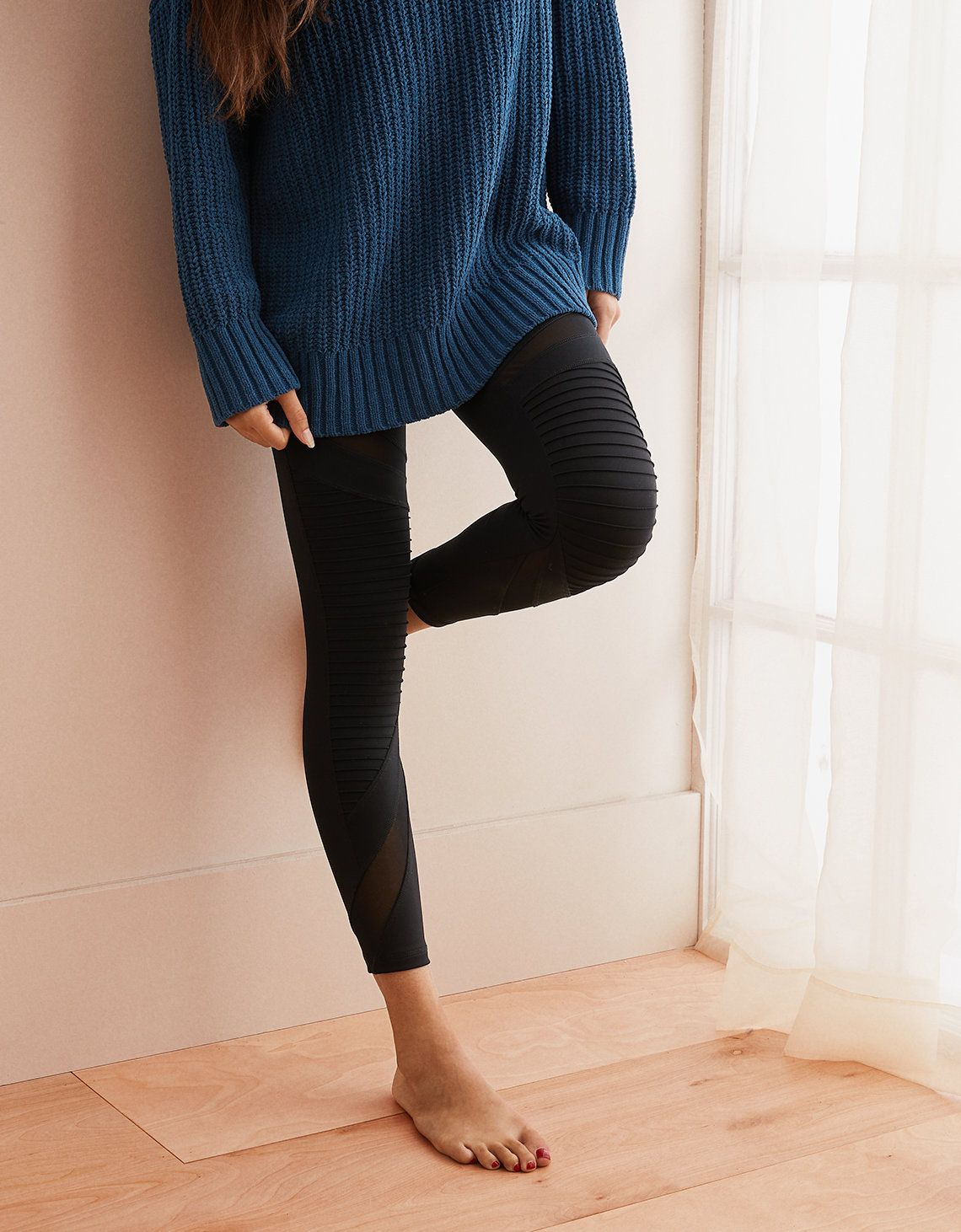 5f39001d2ce55 Aerie Move High Waisted Moto 7/8 Legging, True Black   Aerie for American  Eagle