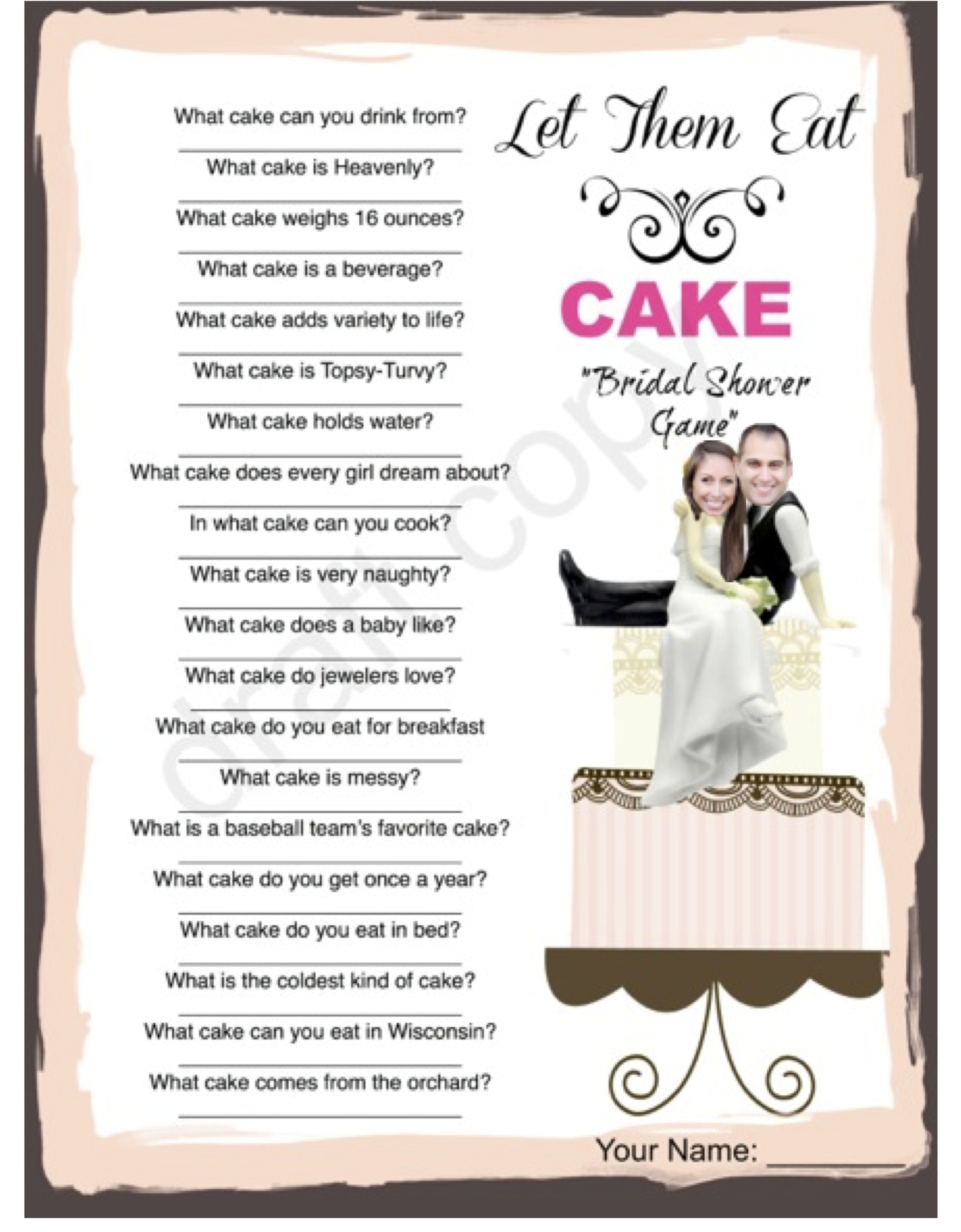 Bridal Shower Game Cake Trivia Custom With Your Picture