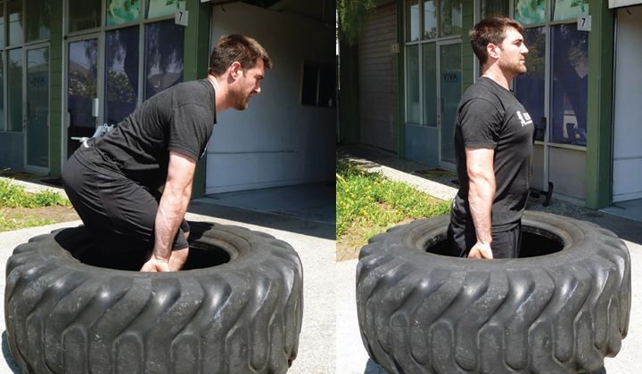 Performing A Deadlift With A Tire Workout Pinterest