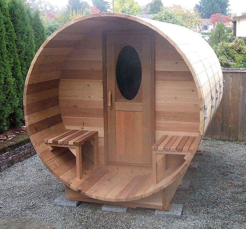Cedar barrel sauna kits and outdoor saunas forest lumber for How to build a backyard sauna