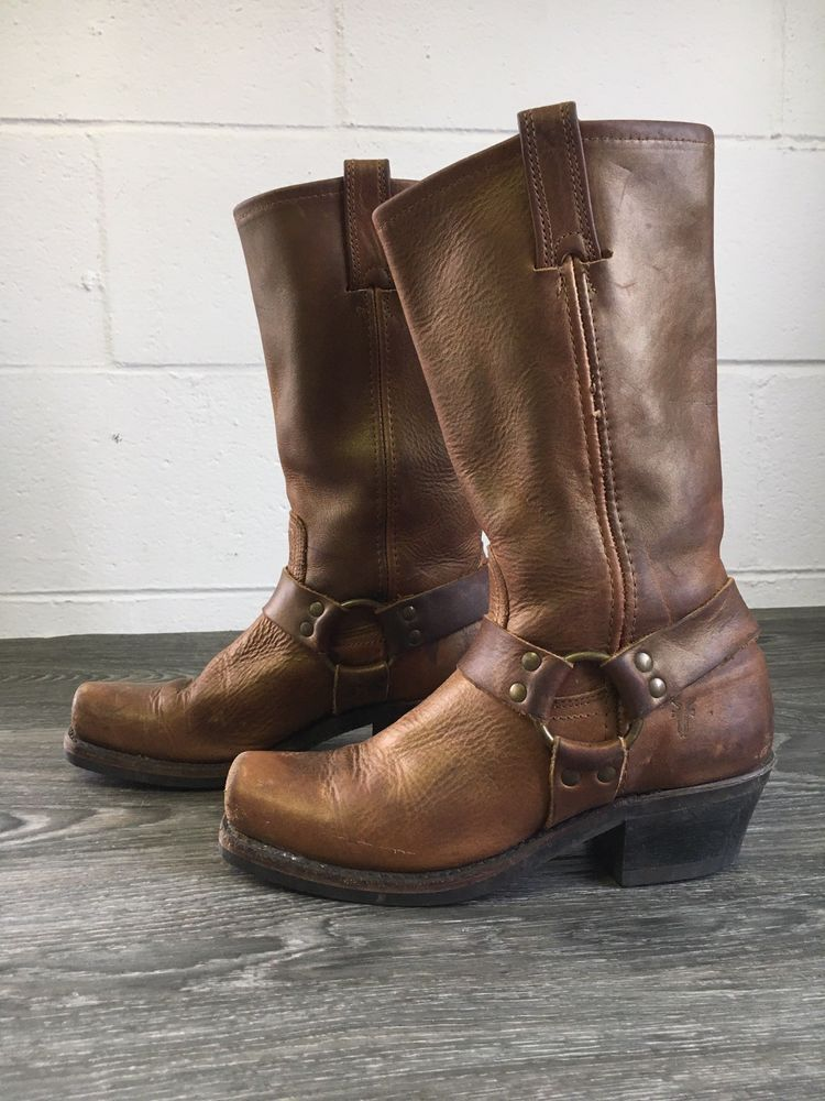 a5243761e2b Frye Boots Gold Vtg Women's Phillip Harness Motorcycle Riding ...