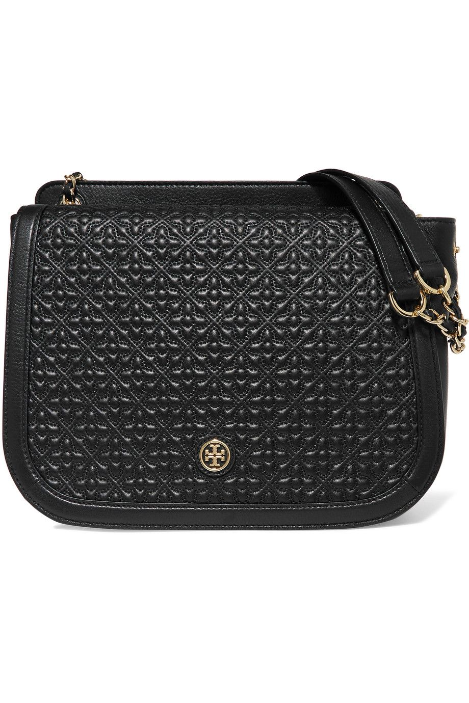 TORY BURCH Bryant quilted and textured-leather shoulder bag.