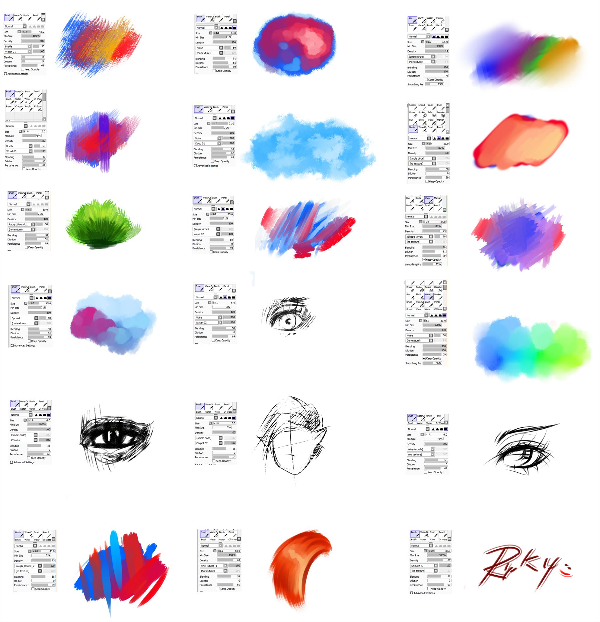 Brushes Type For Paint Tool Sai 2 By Ryky Deviantart Com On