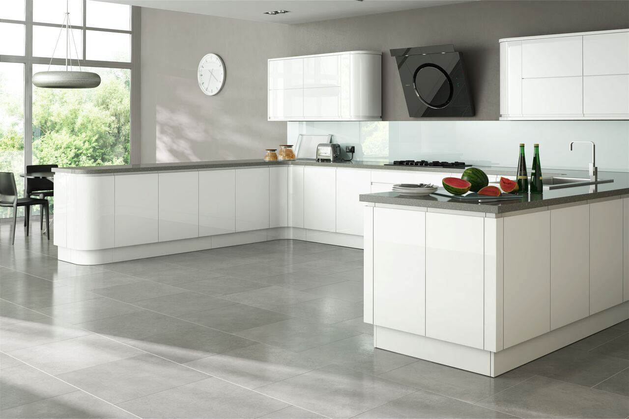White Kitchen With Grey Vinyl Floor Laminate Kitchen Flooring Best Kitchen Flooring Types Commercial White Gloss Kitchen White Kitchen Units Grey Kitchen Floor