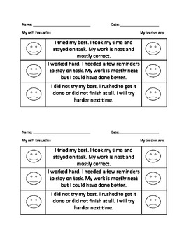 Self Evaluations For Primary Students Student Self Evaluation