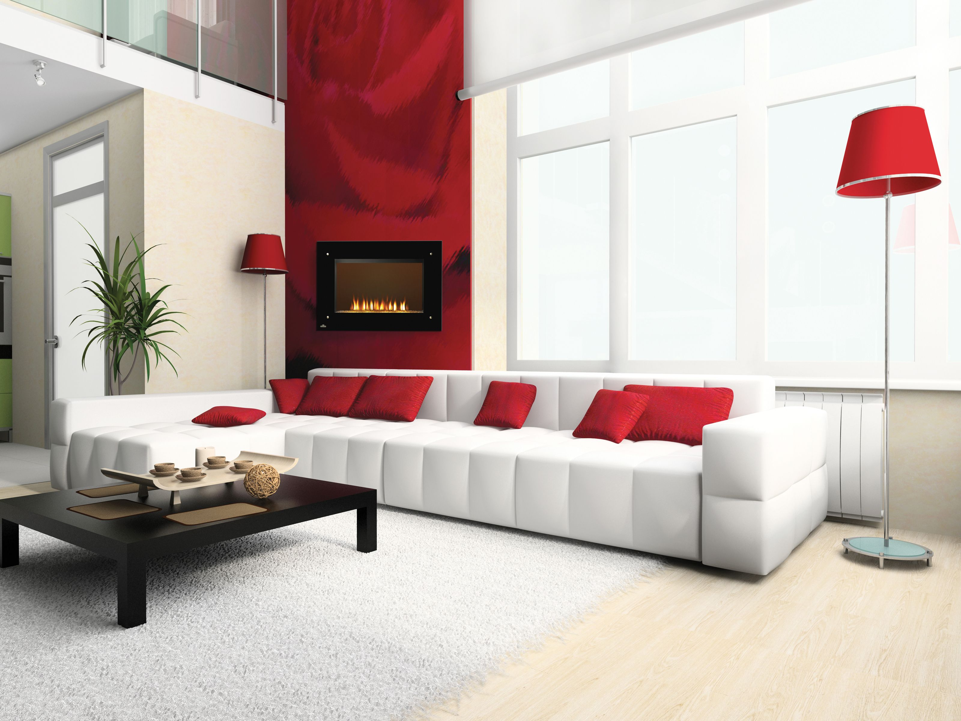 Luxury-living-room-in-beige-and-red-with-interesting-wall | House ...
