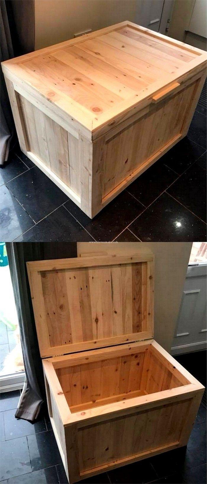 Pallet wooden box idea new design | coffre en bois et fer | Coffre ...