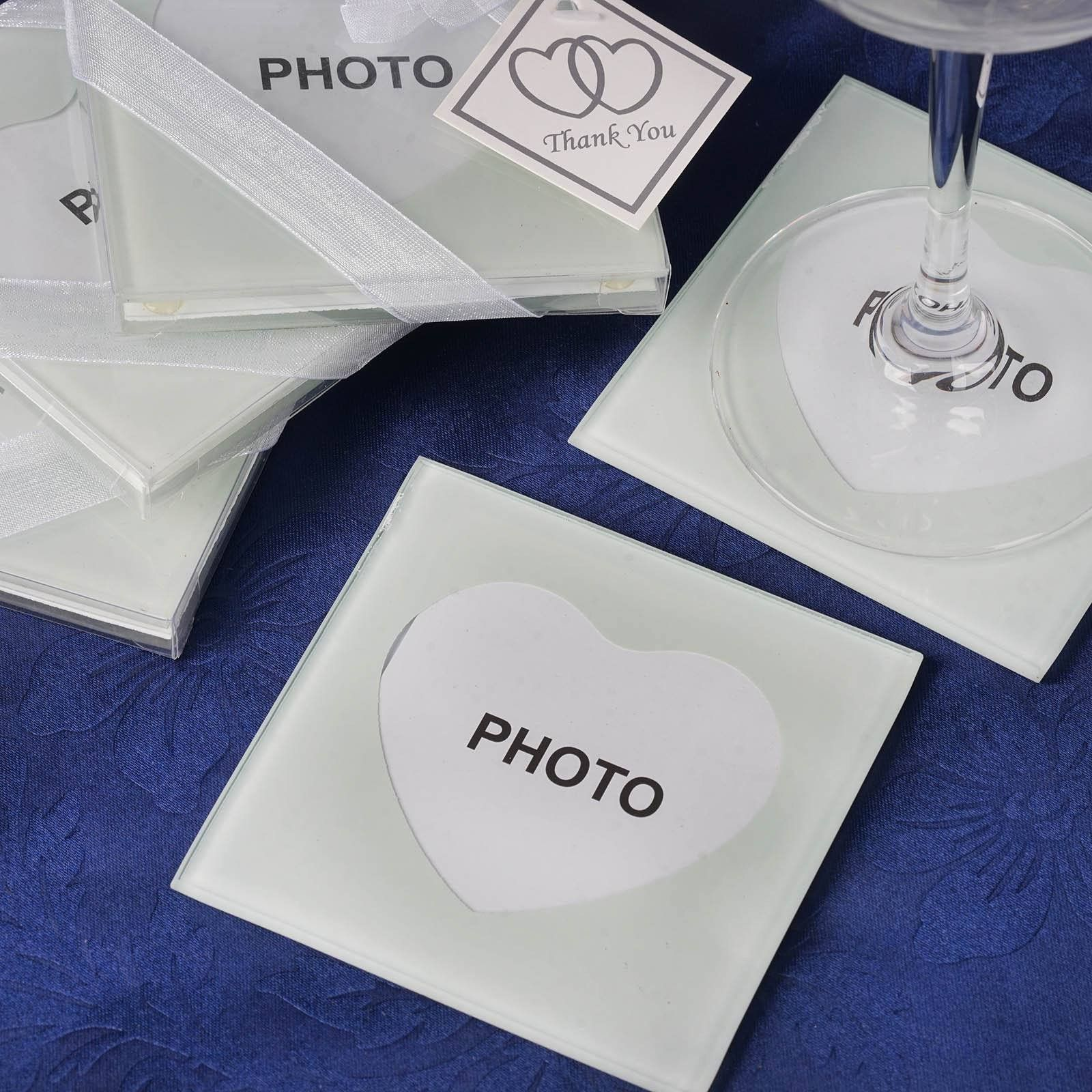 Heart Shaped Photo Frame Glass Coasters - 2pcs/pack | Glass coasters ...