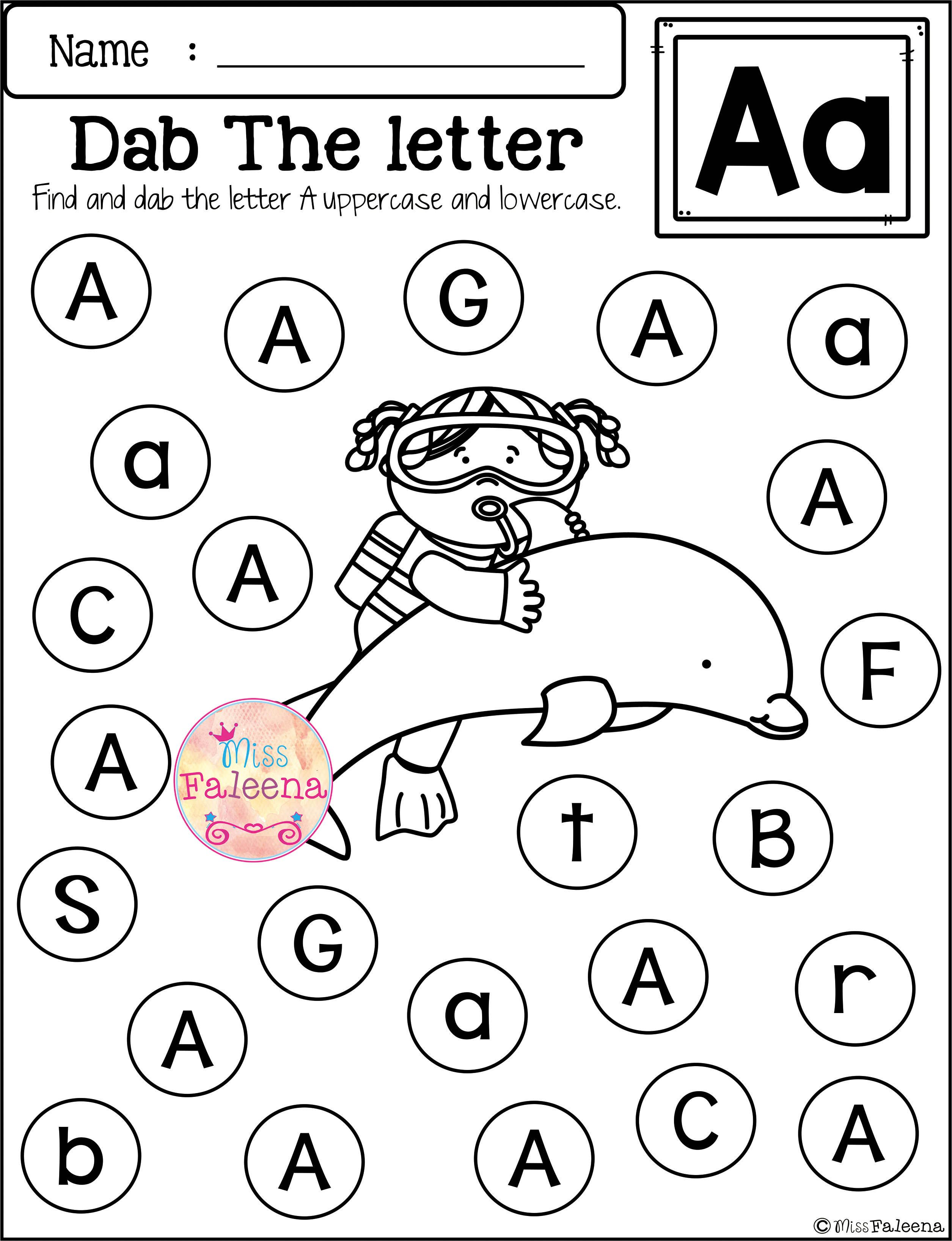 Free Alphabet Dab Contains 26 Pages Of Worksheets This Product Is Alphabet Worksheets Kindergarten Free Kindergarten Worksheets Letter Recognition Worksheets [ 3272 x 2510 Pixel ]