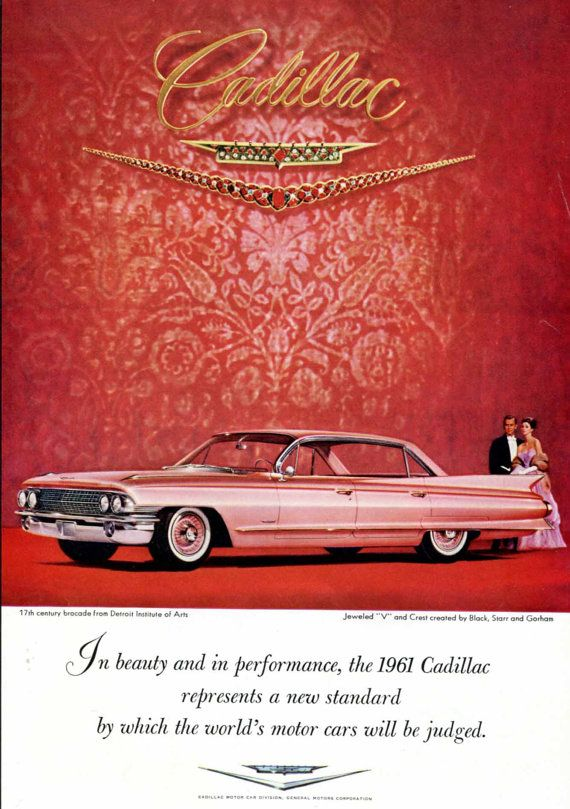 Items similar to 1961 Cadillac Ad Bejeweled by Black Starr Gorham Jewelry Red Pink Jewels Mid Century 1960s Car Original Vintage Wall Decor on Etsy