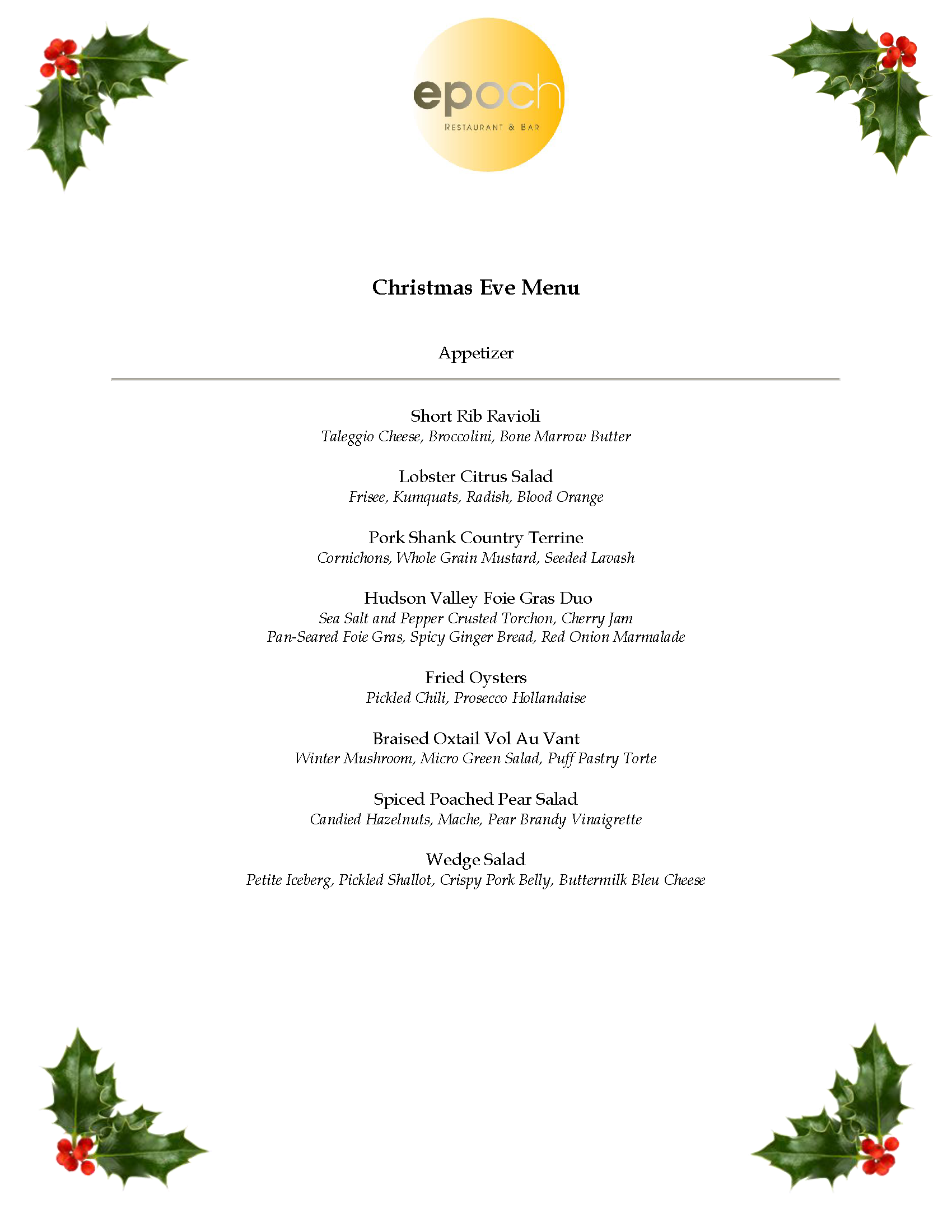 christmas eve dinner menu 2013 epoch restaurant bar page 1