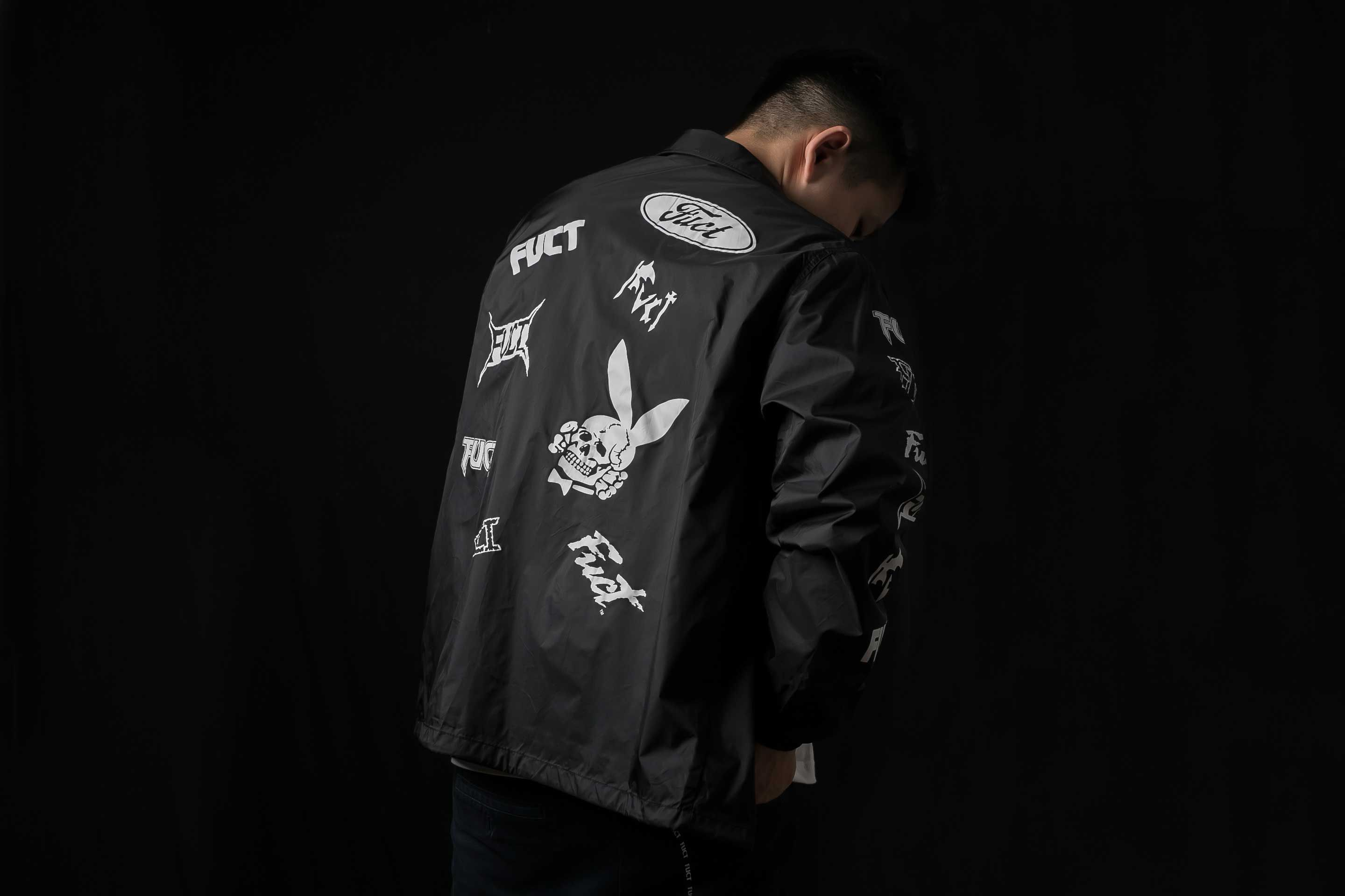 FUCT SSDD SS17' Black Multi Print Coach jacket available in #COVER. #fuct #fuctssdd #CoachJacket #coverbycrossover
