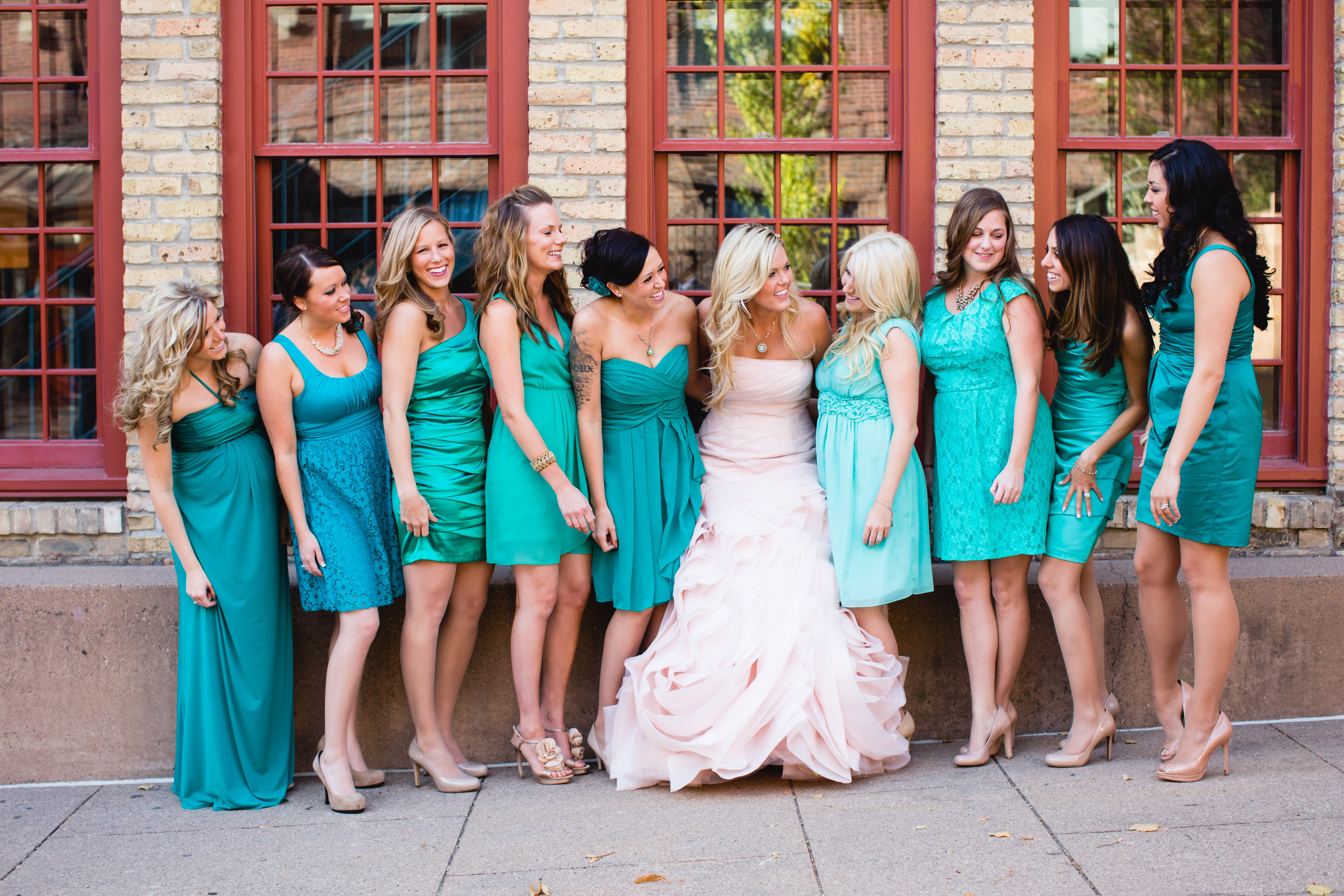 Mermaid and Jade bridesmaid dresses. Blush Bridal Dress. Minneapolis ...