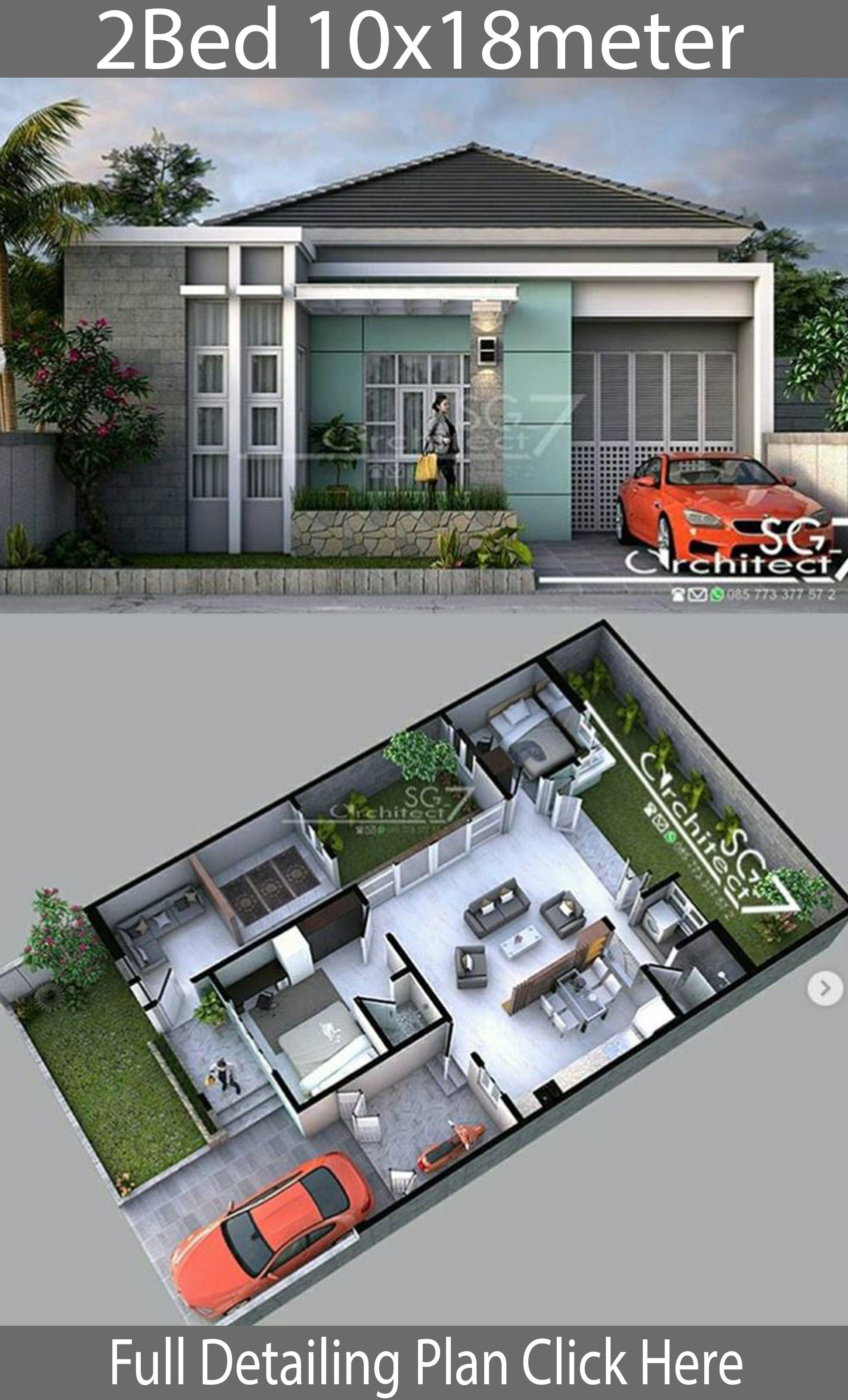 2 Bedrooms Home Design Plan 10x18m House Description One Car Parking And Small House Design Architecture Small House Design Exterior House Architecture Design
