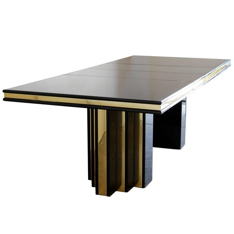Brass And Black Lacquer Dining Table By Roger Rougier Lacquer Dining Table Dining Table Dining Table Decor