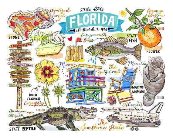Florida Print State Symbols Illustration State Art Key West