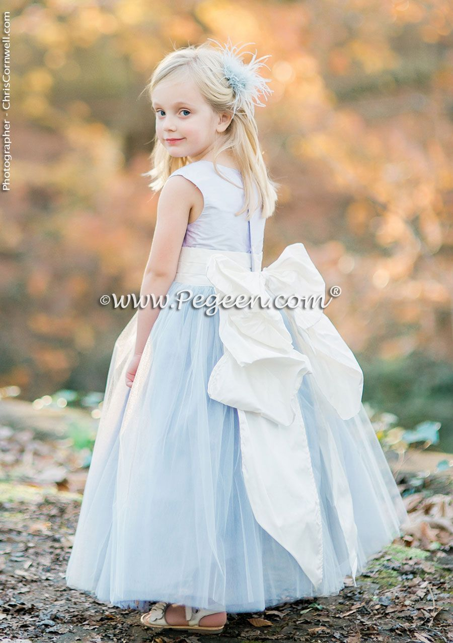Cloud Blue And White Flower Girl Dresses By Pegeen With Layers