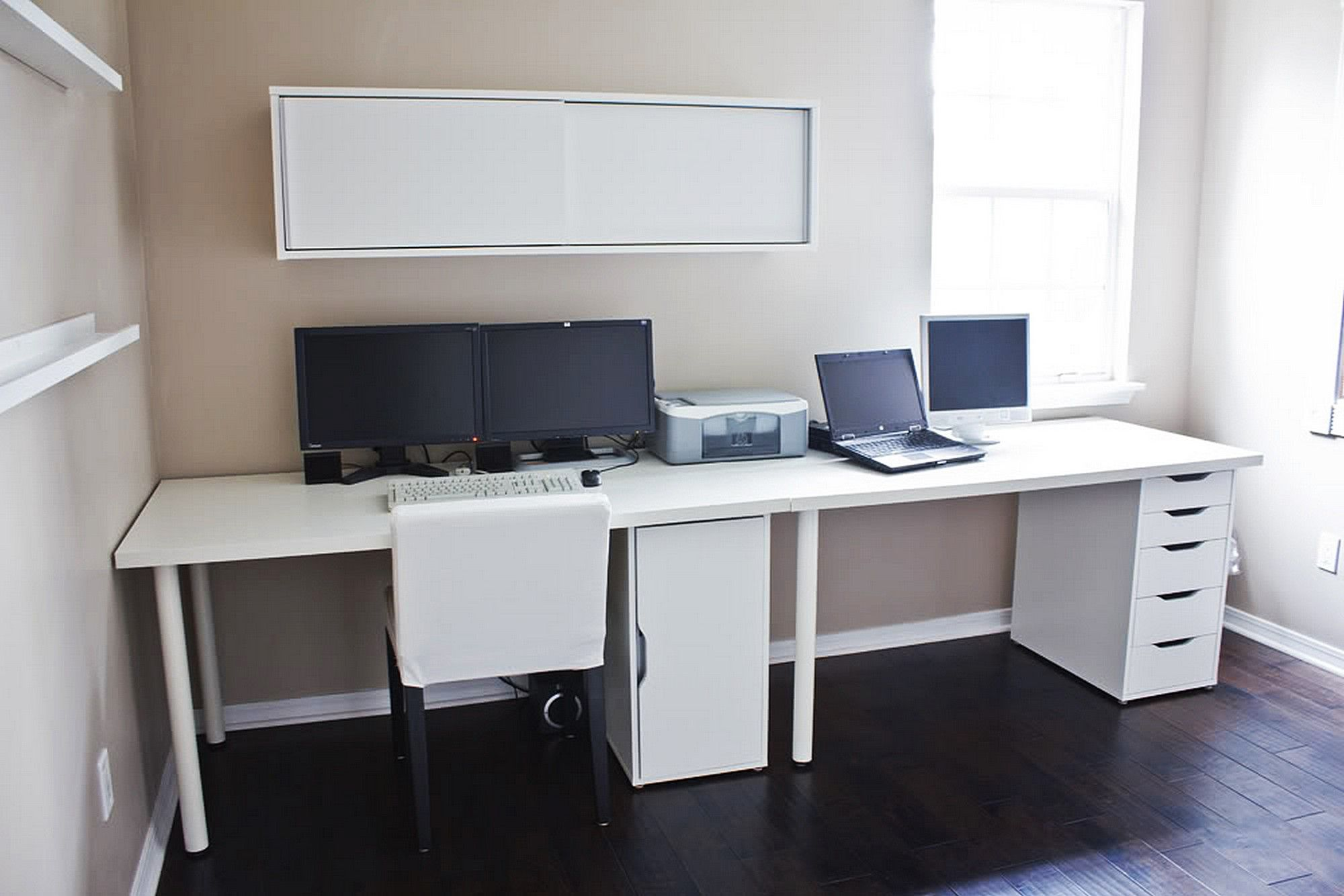Clean white computer desk setup from ikea linnmon adils with alex storage drawer inside - Ikea furniture for small spaces minimalist ...