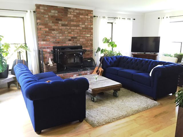 Royal Blue Tufted Sofa Sectional Pottery Barn Farm House Living