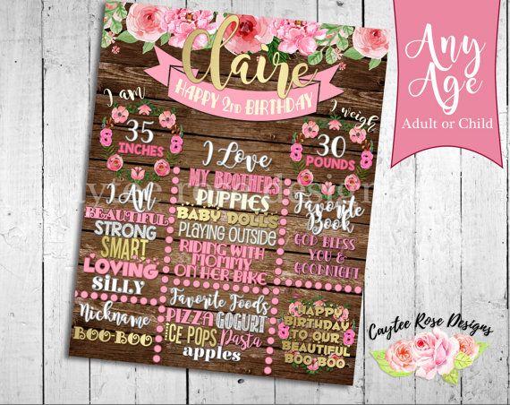 Rustic Flower Birthday Board