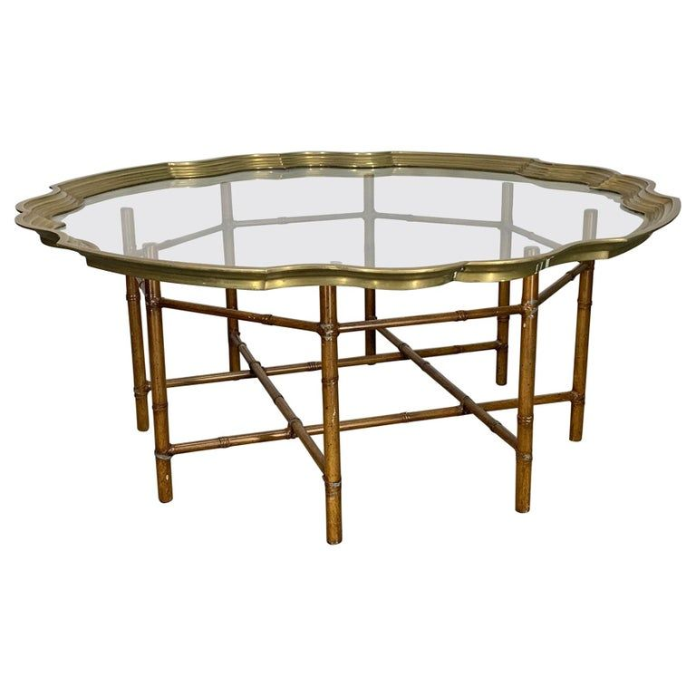 1stdibs Coffee Cocktail Table Top Hollywood Regency Brass