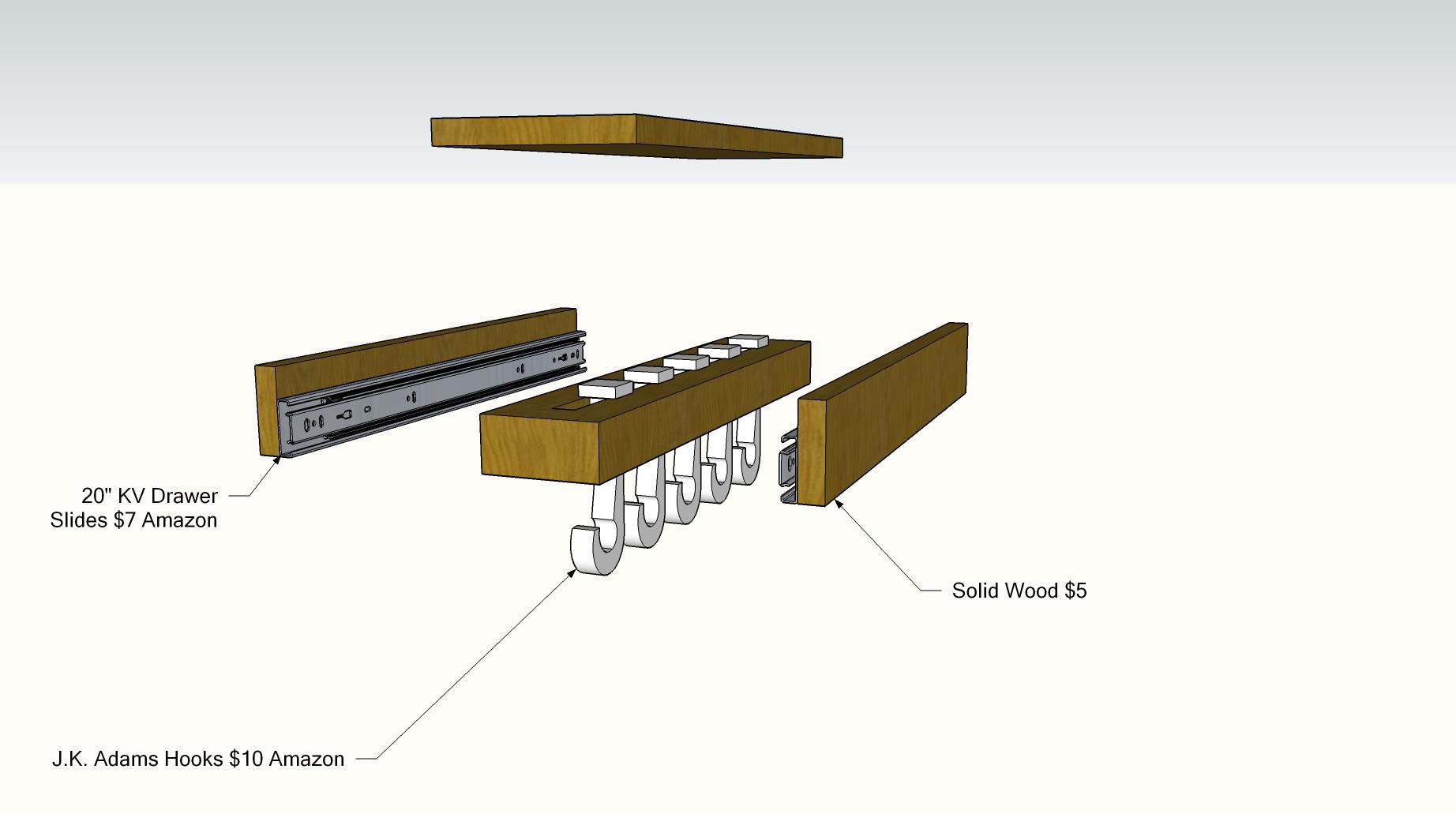Diy sliding pot rack 2 like glideware storage system kitchen and dining room pinterest pot - Cabinet pull out pot rack ...
