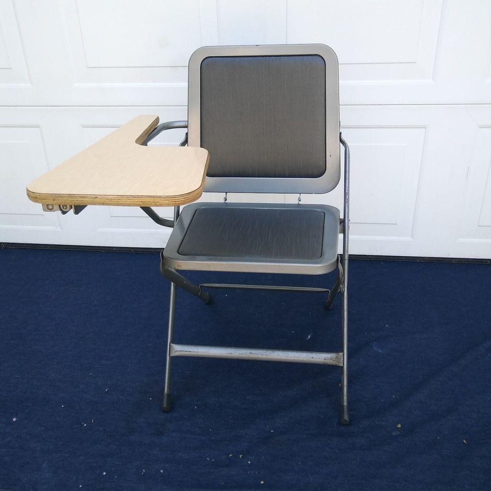 krueger folding chairs ergonomic rocking vintage mcm chair desk rare padded seat grey black industrial collectibles retro mid century 1960s ebay