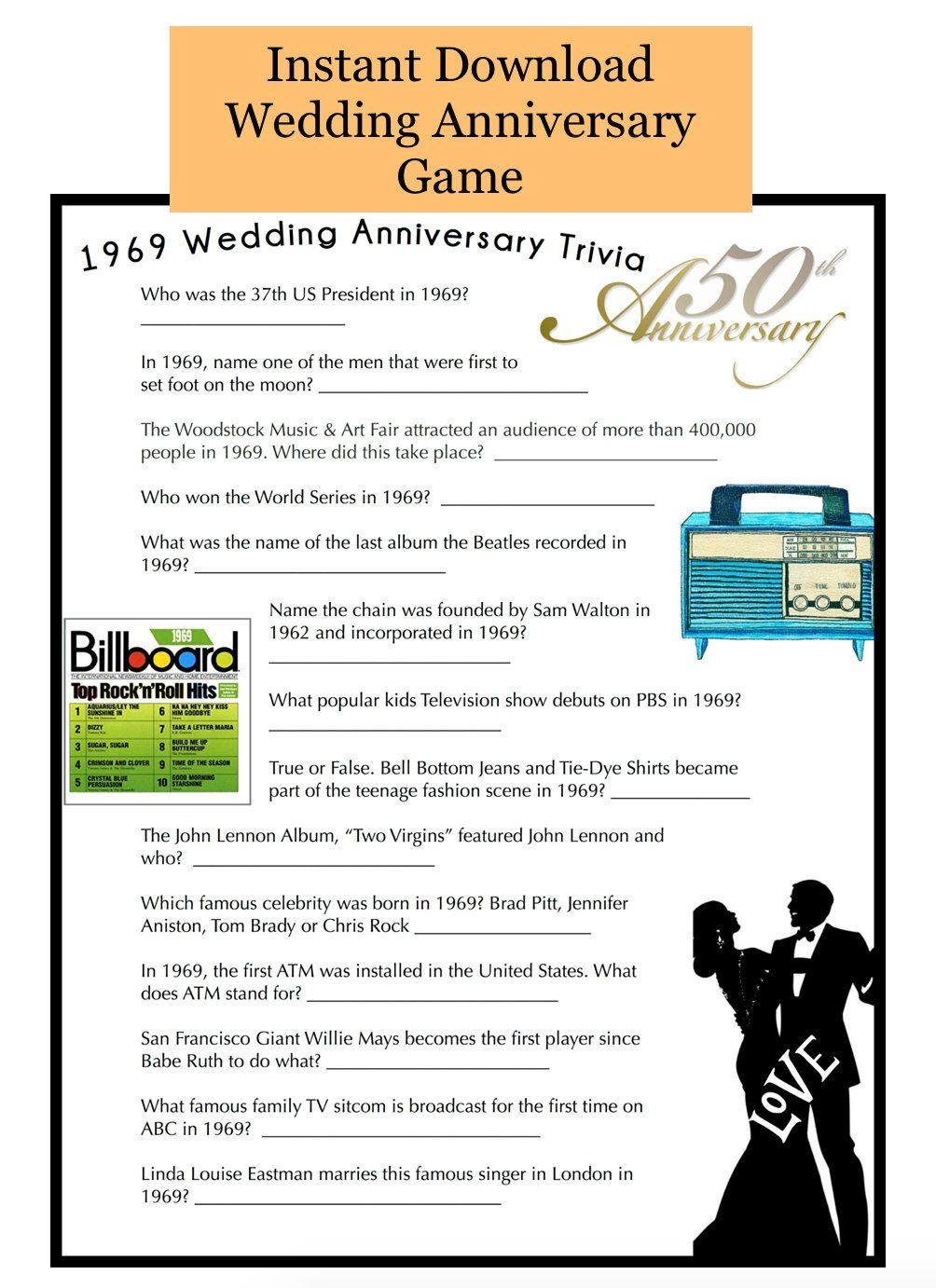 50th Wedding Anniversary Party Game Questions from 1970