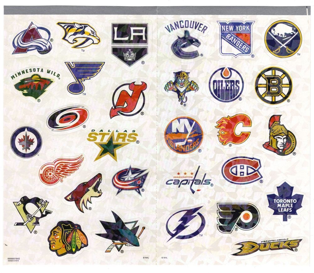 NHL Hockey Team Logo Stickers 2 Sheets (or 30 Stickers in