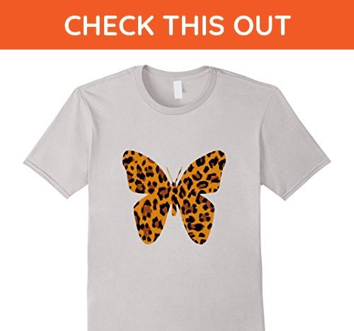 45571c93d6 Mens Leopard Animal Print Butterfly Silhouette T-Shirt Medium Silver - Animal  shirts ( Amazon Partner-Link)