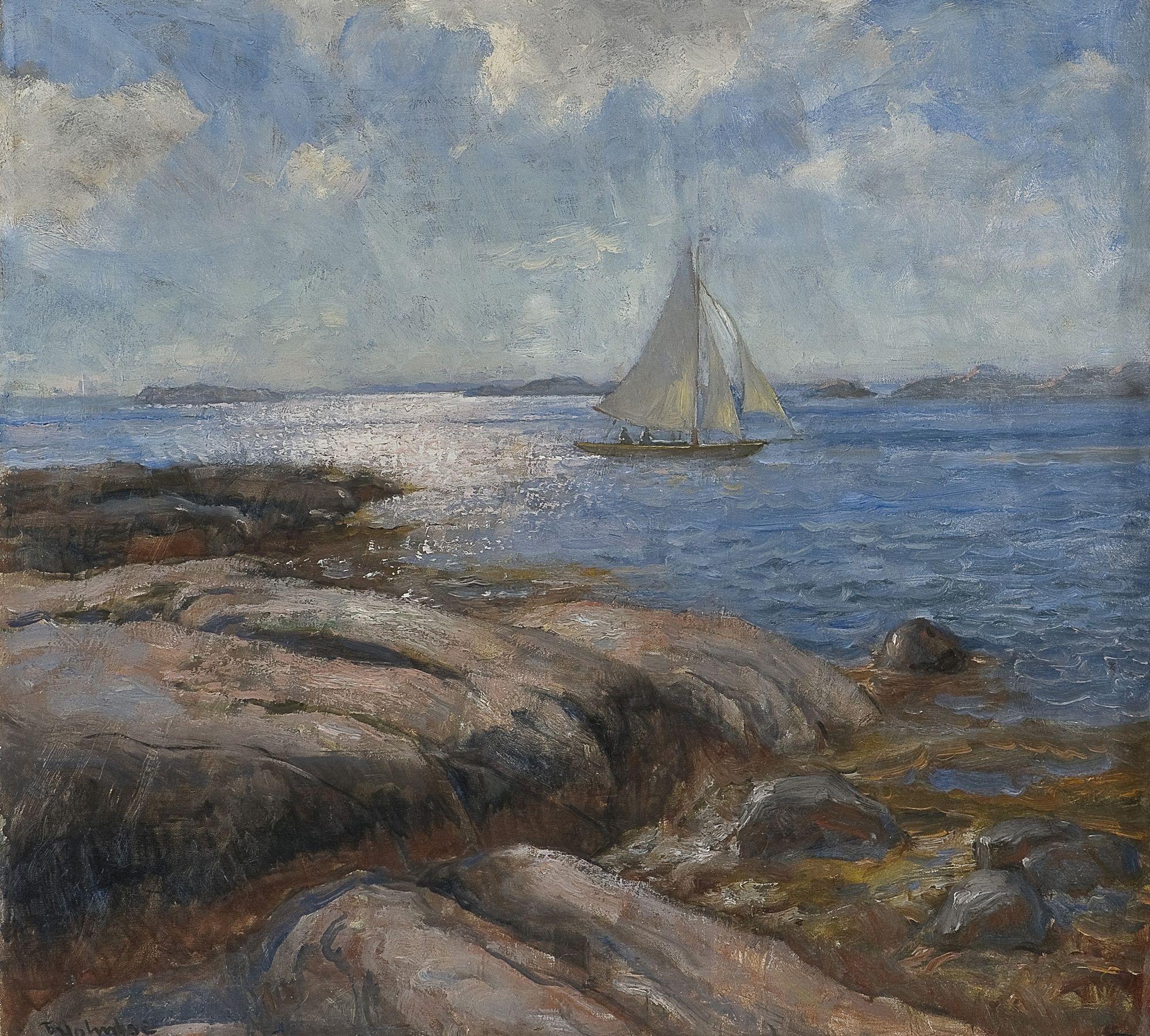 Thorolf Holmboe 1866-1935: Seilbåt i lett bris
