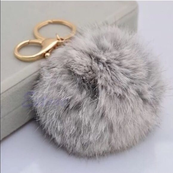 SPECIAL OFFER DISCOUNT Furry Grey charm handbag Keyring Extremely soft