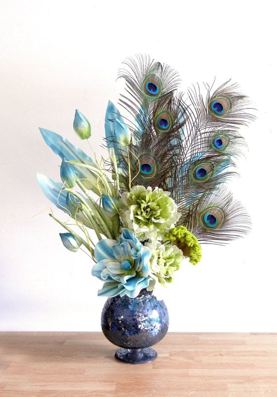 Large Peacock Feather Floral Arrangement With Blue By Rachelsheart Peacock Peacock Room