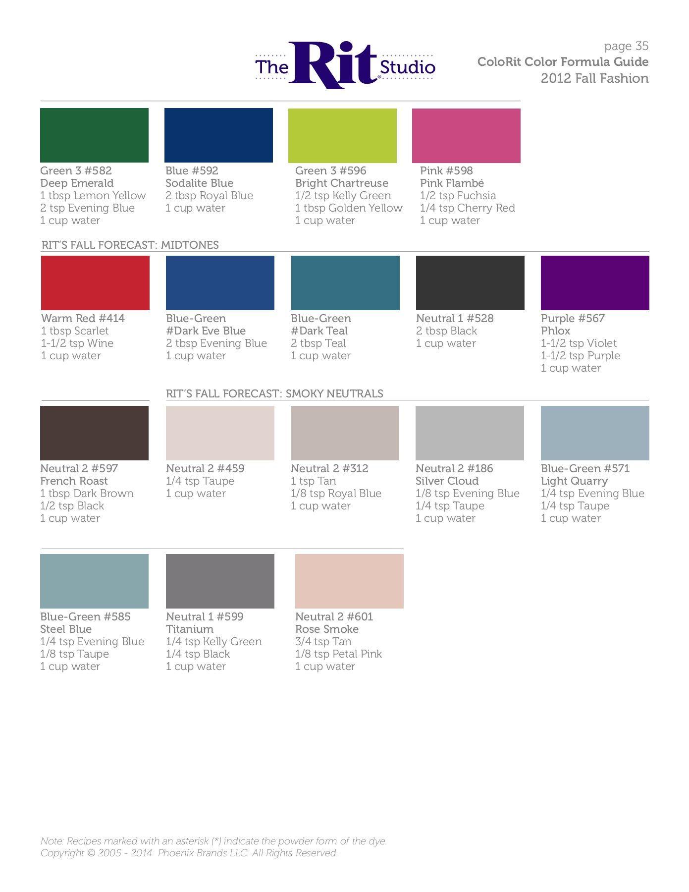 Colorit Color Formula Guide The Rit Studio Rit Dye Colors Chart Tie Dye Diy Tie Dye Patterns Diy