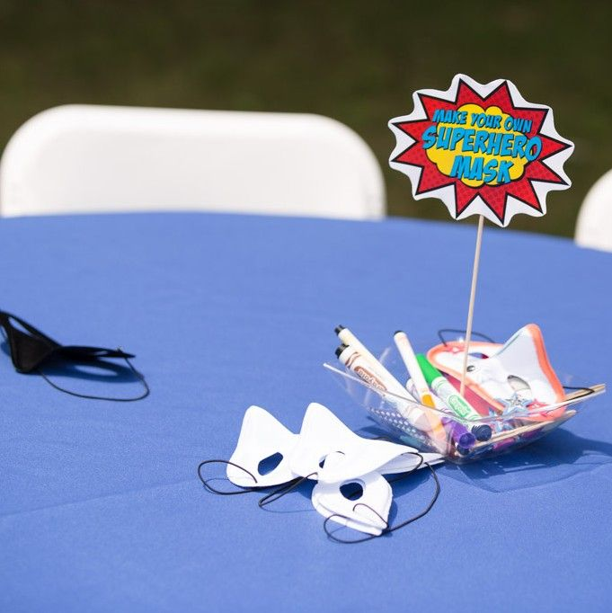Make Your Own Mask Activity as Table Centerpieces