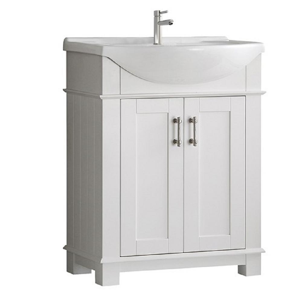 Fresca Hudson 30 In W Traditional Bathroom Vanity In White With Ceramic Vanity Top In White With White Basin Fvnhd0103wh Cmb The Home Depot Traditional Bathroom Vanity Traditional Bathroom Bathroom Vanity