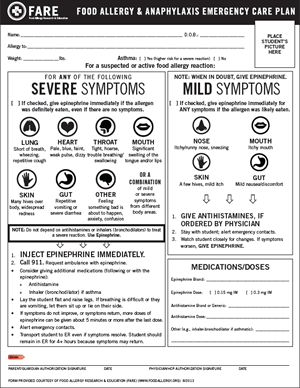 Fare S New Food Allergy Anaphylaxis Emergency Care Plan