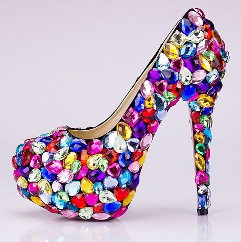 aux Chaussures strass pas soirée de femme escarpin cher multicolor EECqRHwF