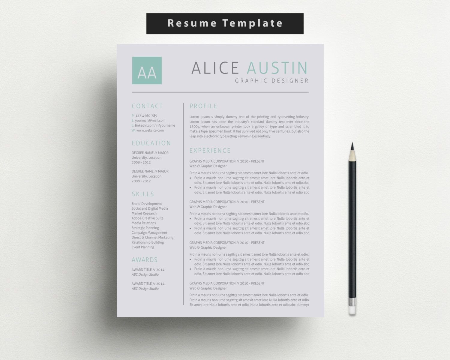 Modern Resume Template With Free Cover Letter Template For Word