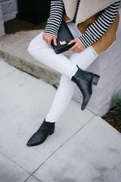 c34b30a07a6 Acne Jensen Boots with my Anine Bing Sweater, Velvet Vest, Frame Denim  Jeans, and Sophie Hulme Clutch