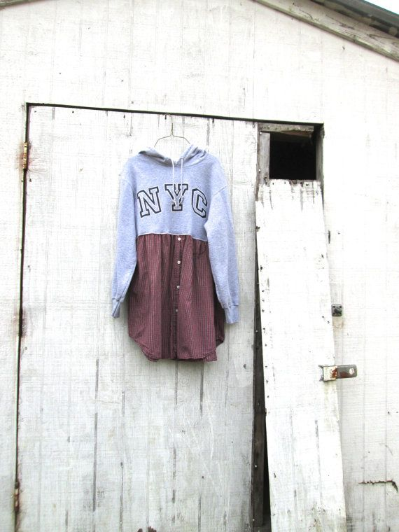 Nyc Upcycled Boho Hoodie Romantic Tunic Frock By Creolesha 65 00 Upcycle Clothes Repurposed Clothing Recycle Clothes