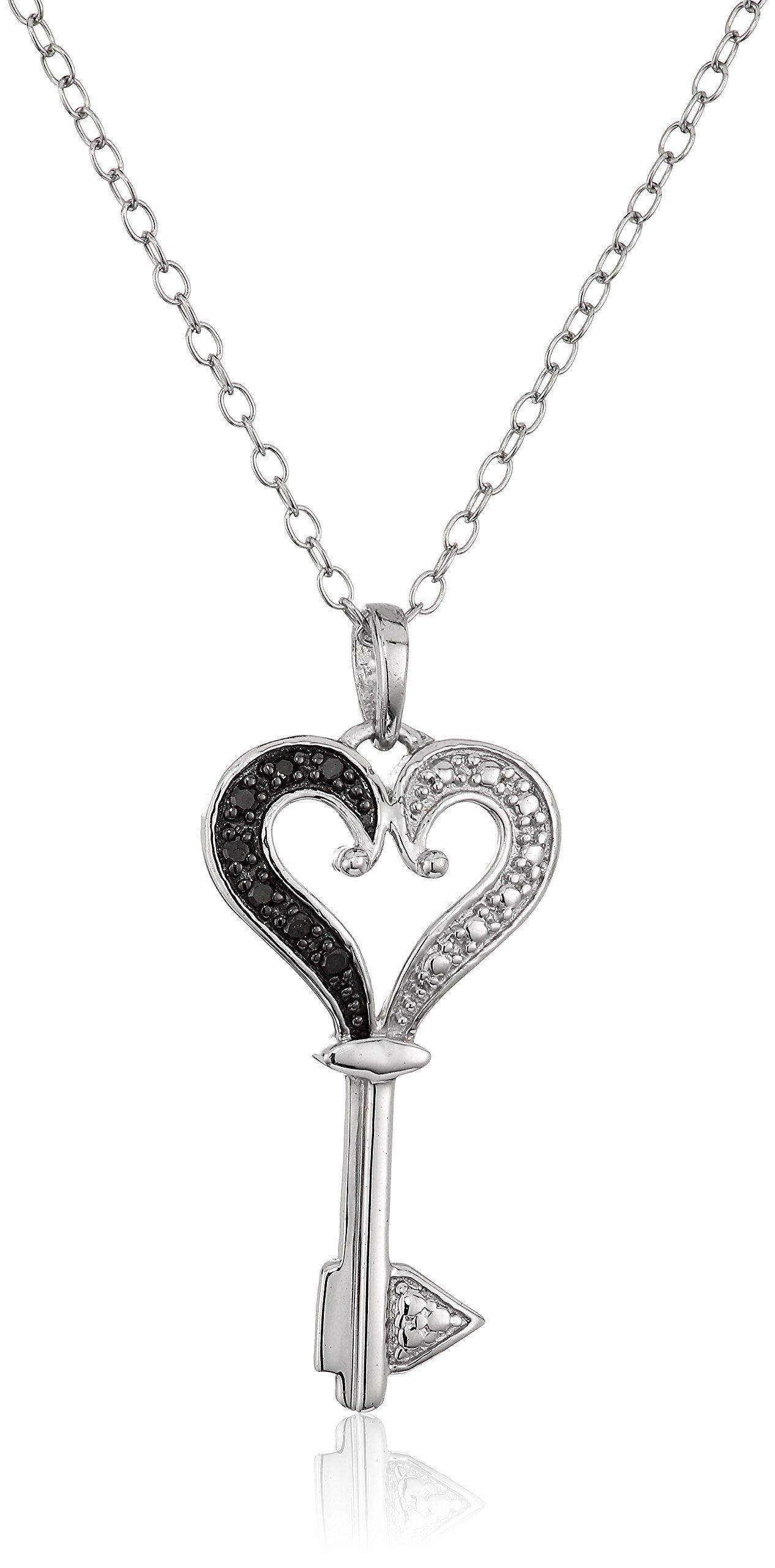 Sterling silver black diamond heart key pendant necklace 18 sterling silver black diamond heart key pendant necklace 18 heart warming key pendant mozeypictures Images