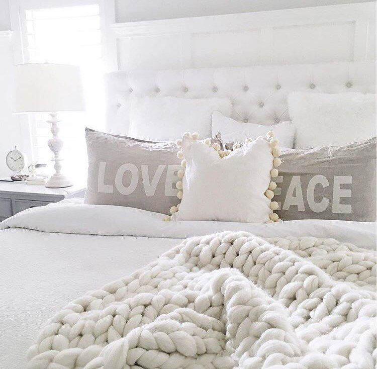 The Pinterest Proven Formula For The Ultimate Cozy Bedroom: White Throw Chunky Knit Blanket Hand Knit Blanket Di