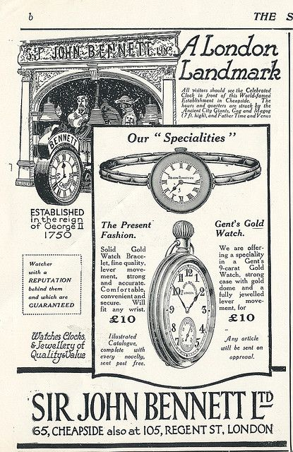 vintage watchmaker advertisement, London.