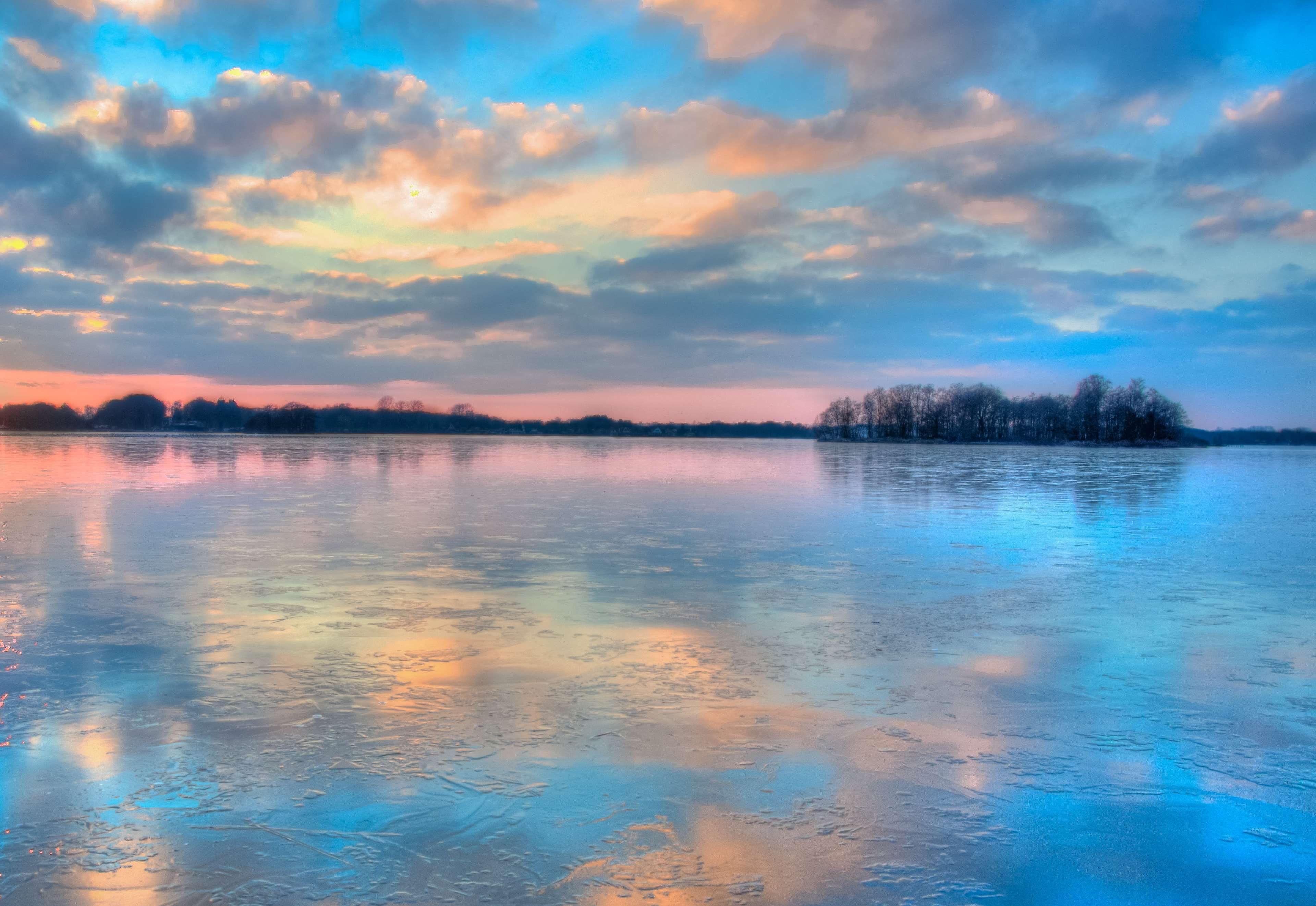 Clouds Colorful Colourful Ice Lake Landscape Nature Overcast Reflection River Scenery Sky Sunrise Suns Scenic Photography Sunset Photos Landscape