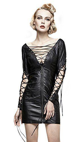 6df831752a90b Punk Rave Robe noire imitation cuir avec laçages et zip dos nu et grand  décolleté sexy