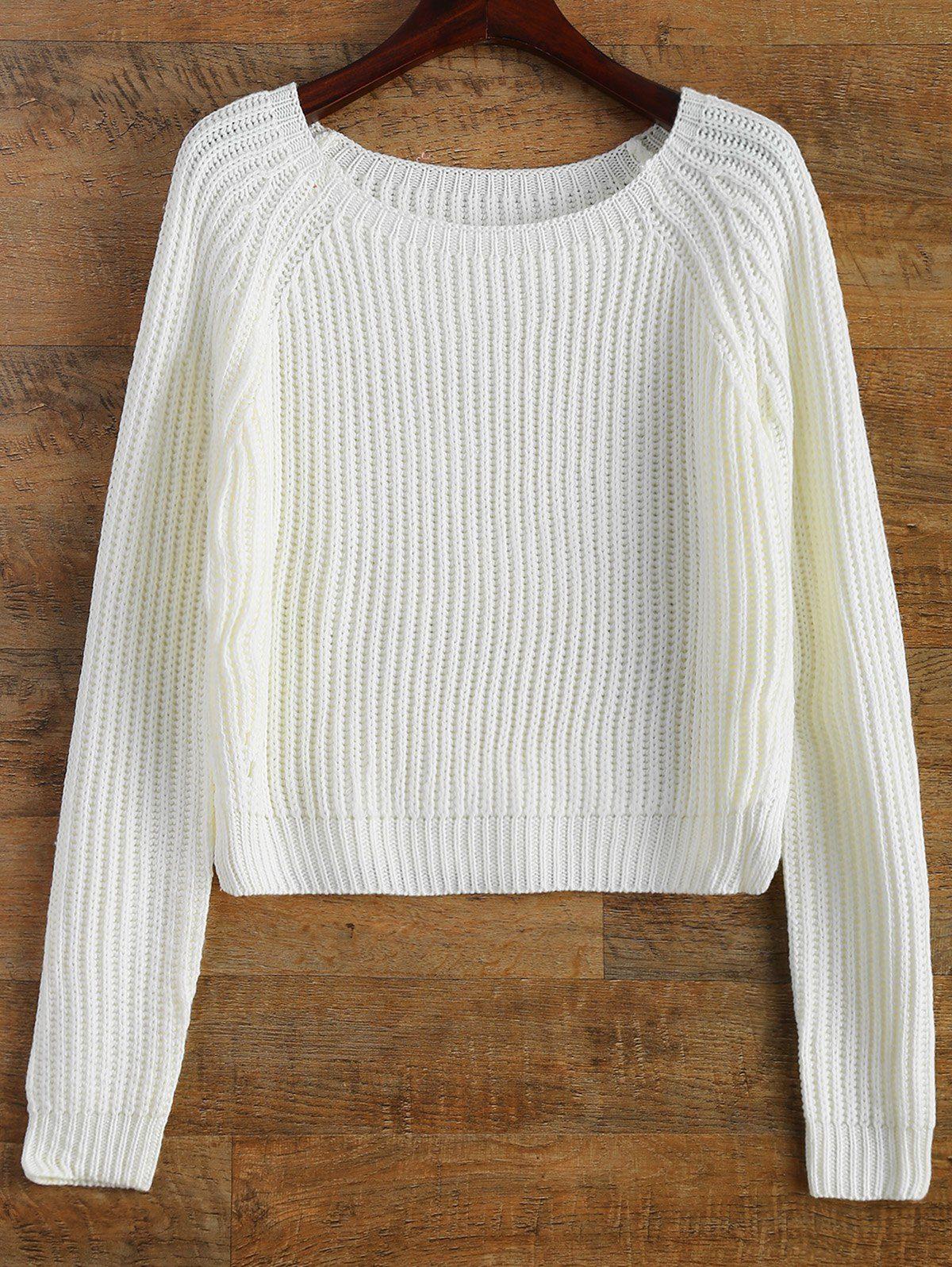 $23.99 Raglan Sleeve Boxy Basic Sweater WHITE: Sweaters | ZAFUL ...