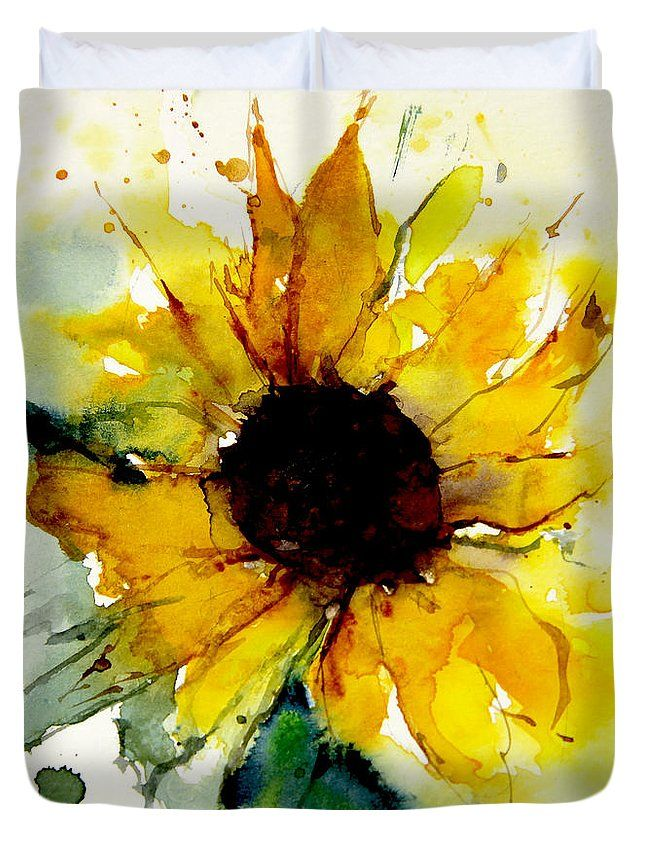 Watercolor Sunflower Duvet Cover for Sale by Annem