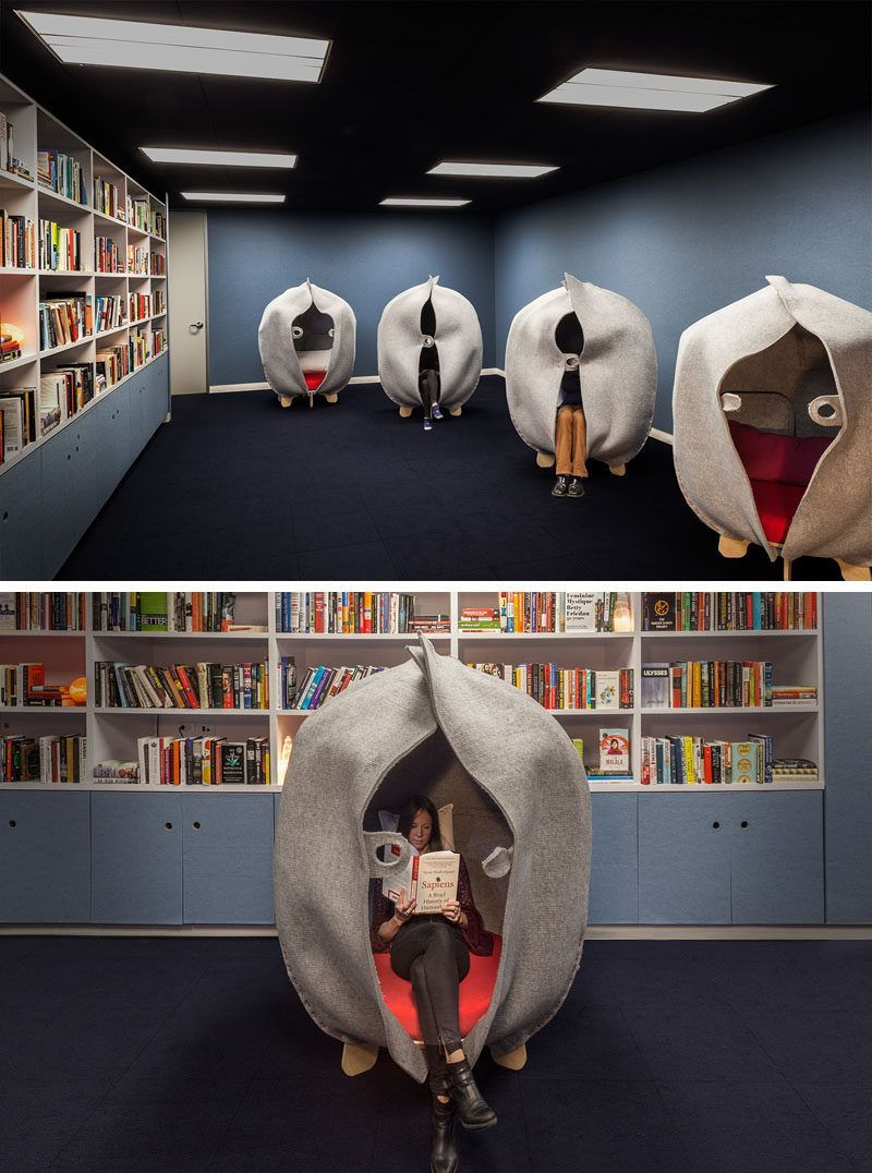 This modern office has alibrary and meditation room for employees to have some private time after a...